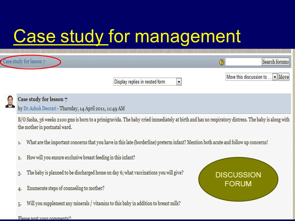 Case study for management DISCUSSION FORUM