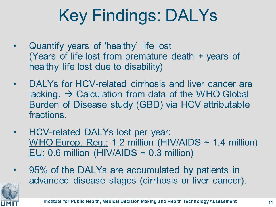 Institute for Public Health, Medical Decision Making and Health Technology Assessment 11 Key Findings: DALYs Quantify years of 'healthy' life lost (Years of life lost from premature death + years of healthy life lost due to disability) DALYs for HCV-related cirrhosis and liver cancer are lacking.