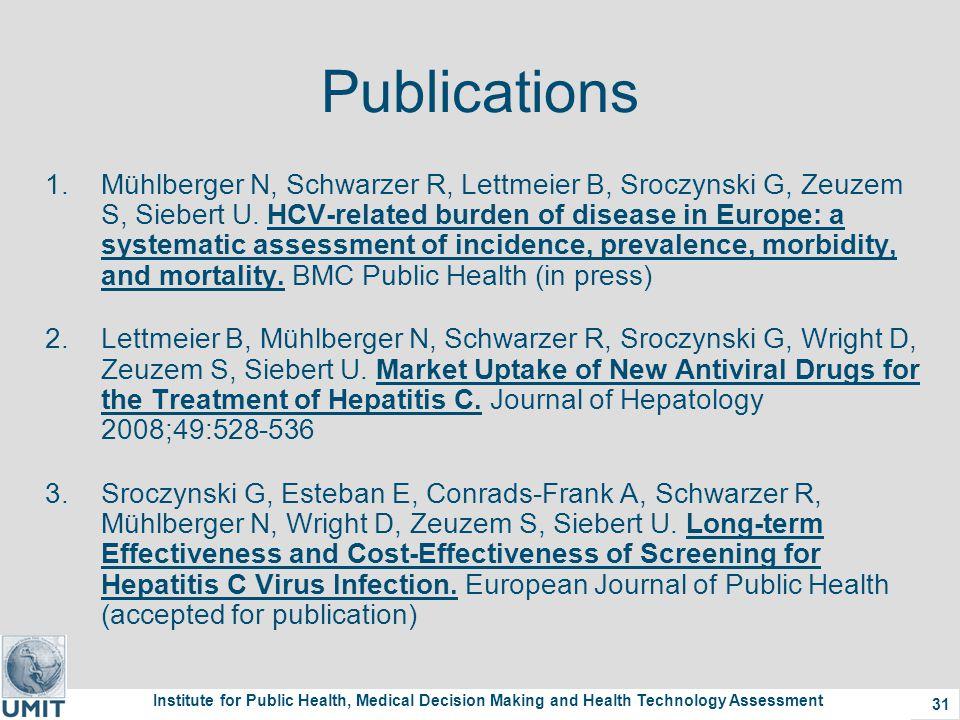 Institute for Public Health, Medical Decision Making and Health Technology Assessment 31 Publications 1.Mühlberger N, Schwarzer R, Lettmeier B, Sroczynski G, Zeuzem S, Siebert U.