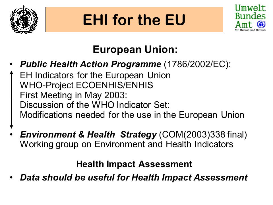 European Union: Public Health Action Programme (1786/2002/EC): EH Indicators for the European Union WHO-Project ECOENHIS/ENHIS First Meeting in May 20
