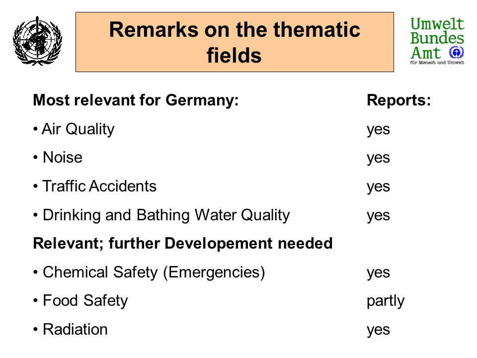 Remarks on the thematic fields Most relevant for Germany:Reports: Air Qualityyes Noiseyes Traffic Accidentsyes Drinking and Bathing Water Qualityyes R