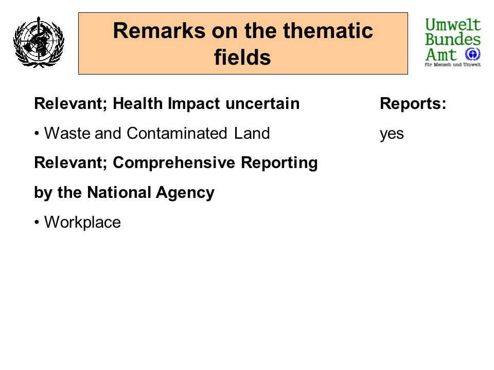 Remarks on the thematic fields Relevant; Health Impact uncertainReports: Waste and Contaminated Landyes Relevant; Comprehensive Reporting by the Natio