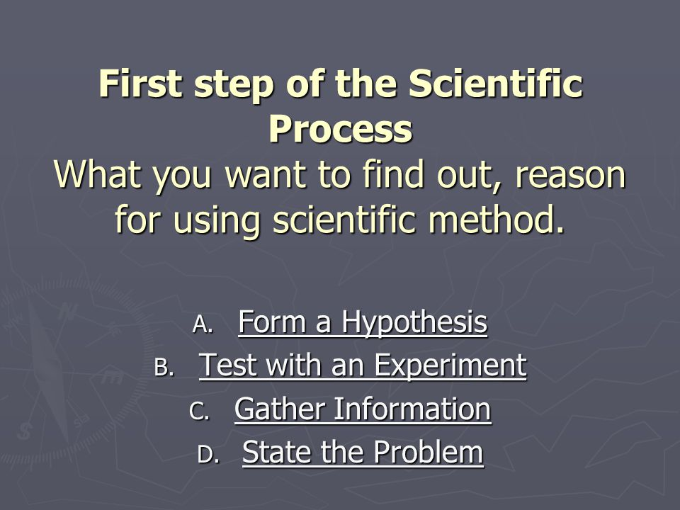 First step of the Scientific Process What you want to find out, reason for using scientific method.