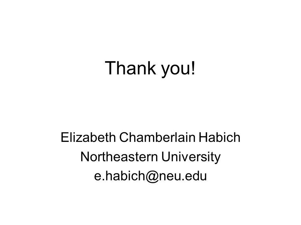 Thank you! Elizabeth Chamberlain Habich Northeastern University e.habich@neu.edu