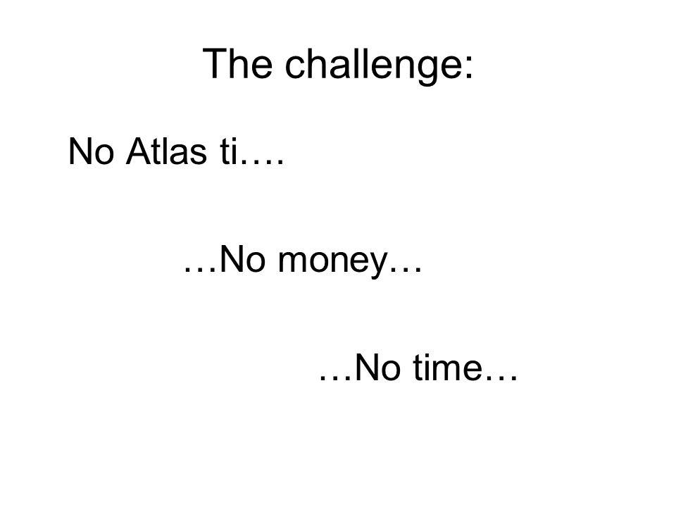 The challenge: No Atlas ti…. …No money… …No time…