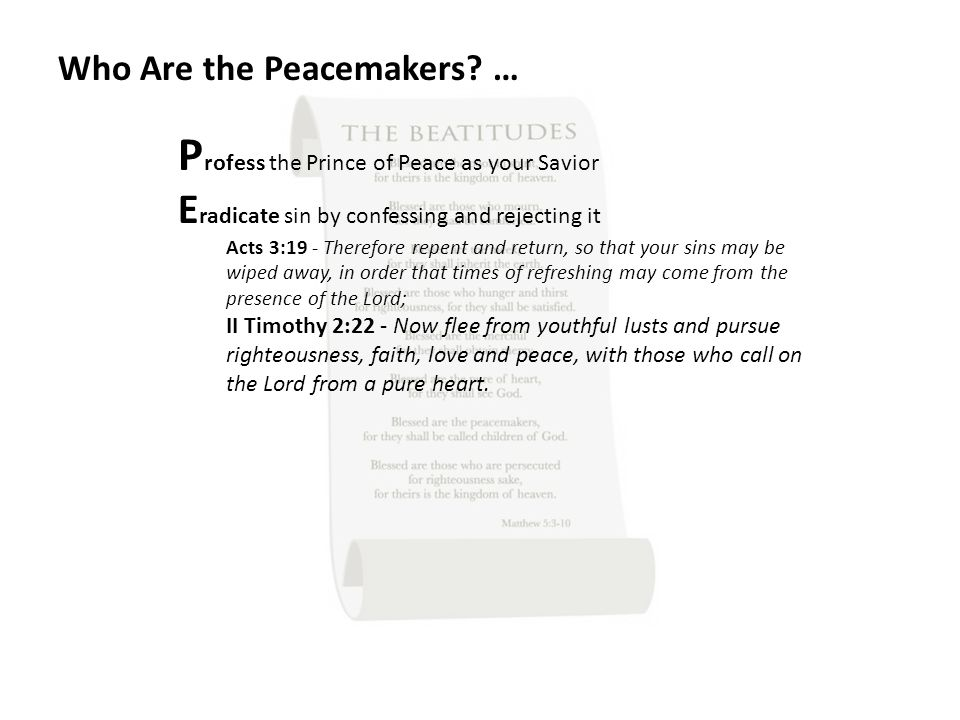 Who Are the Peacemakers.