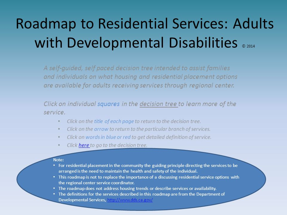 Roadmap to Residential Services: Adults with Developmental Disabilities © 2014 A self-guided, self paced decision tree intended to assist families and