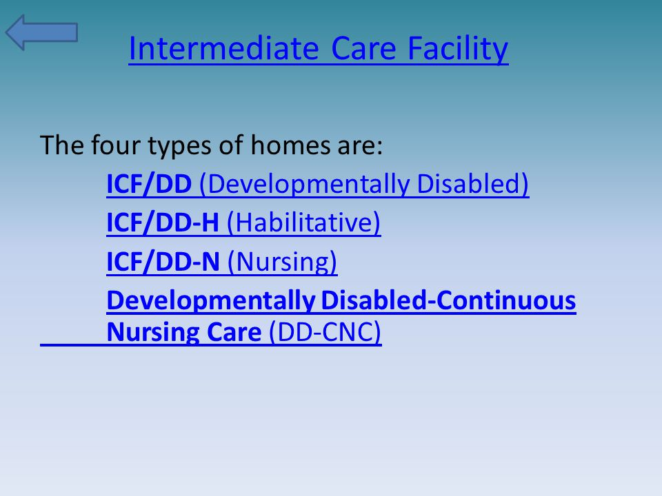 Intermediate Care Facility The four types of homes are: ICF/DD (Developmentally Disabled) ICF/DD-H (Habilitative) ICF/DD-N (Nursing) Developmentally D