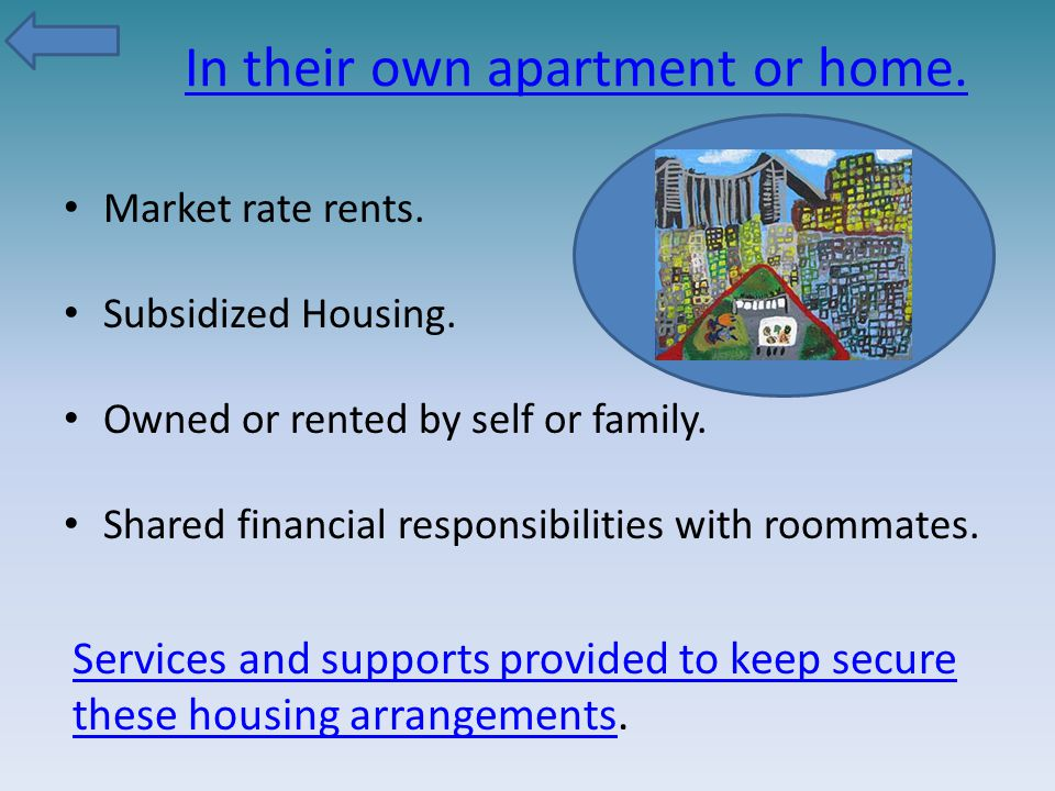 In their own apartment or home.Market rate rents.