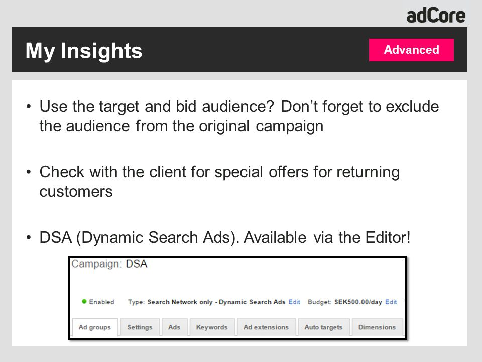 Use the target and bid audience? Don't forget to exclude the audience from the original campaign Check with the client for special offers for returnin