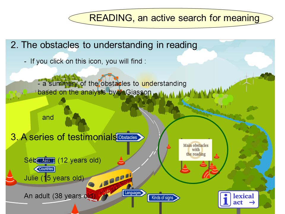 2. The obstacles to understanding in reading - If you click on this icon, you will find : 3.