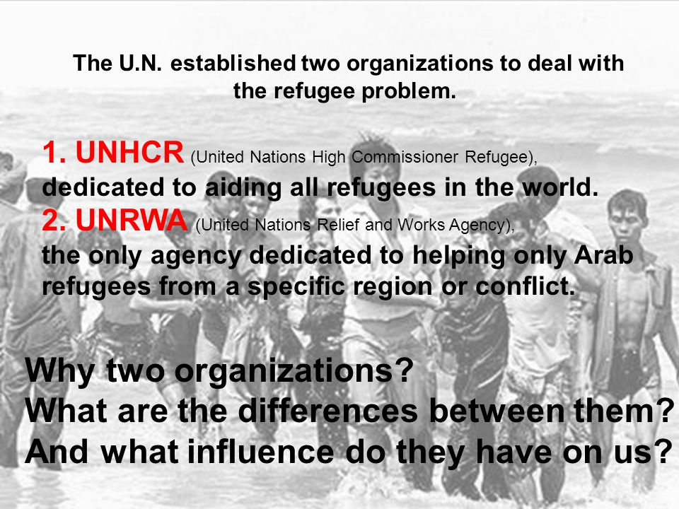Two organizations, two definitions of who is a refugee, and who can be granted a refugee document and receive UN support.