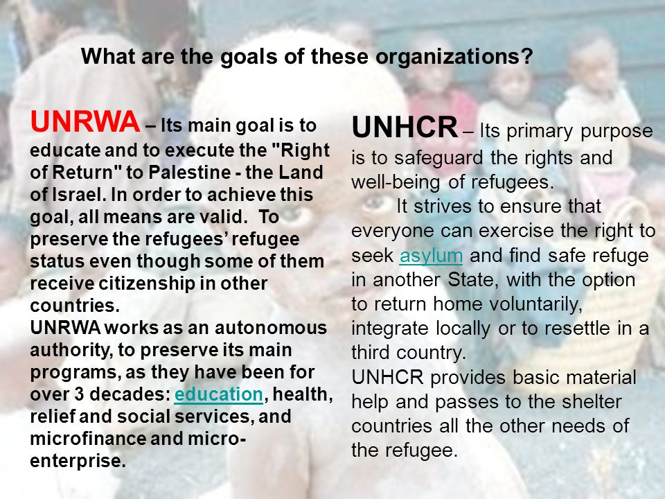 What are the goals of these organizations.