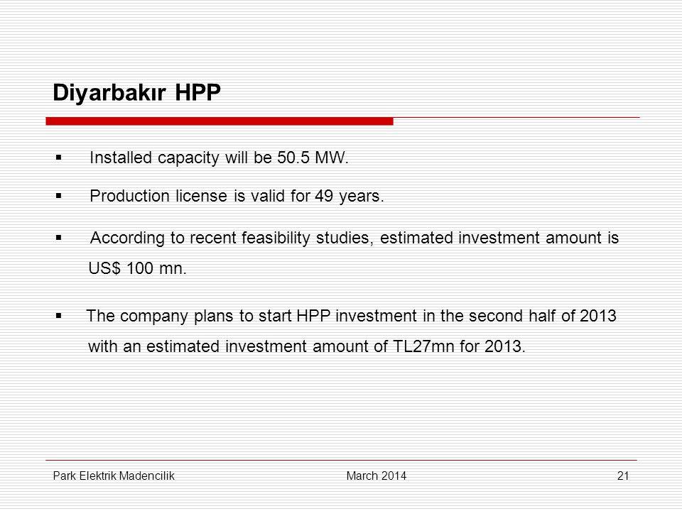 21 Diyarbakır HPP March 2014 Park Elektrik Madencilik  Installed capacity will be 50.5 MW.