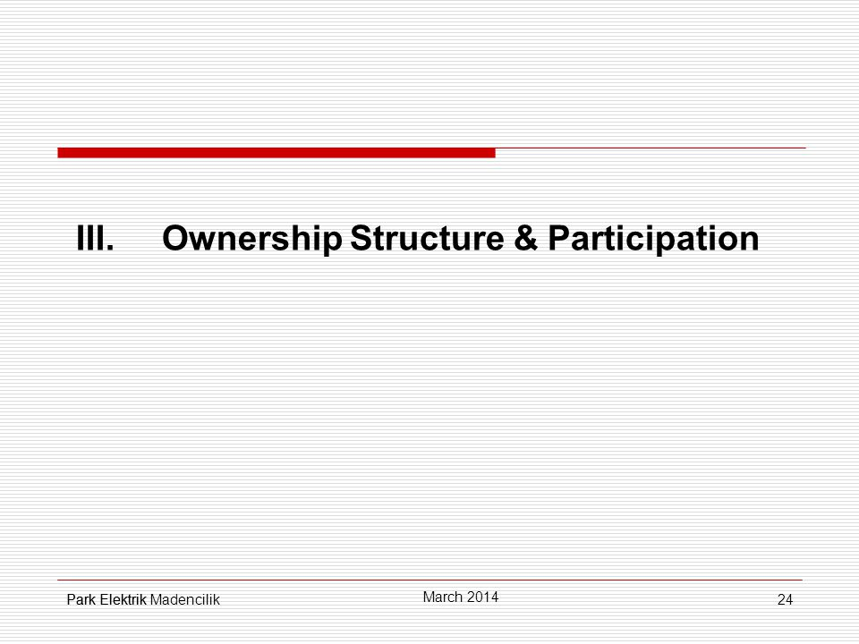 24 III.Ownership Structure & Participation Park Elektrik March 2014 Park Elektrik Madencilik