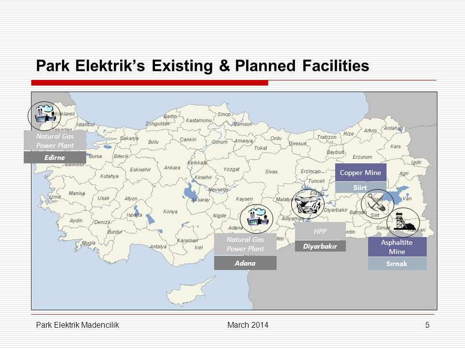 36 Breakdown of Cost of Production, as of YE13, (copper operations) March 2014 Park Elektrik Madencilik