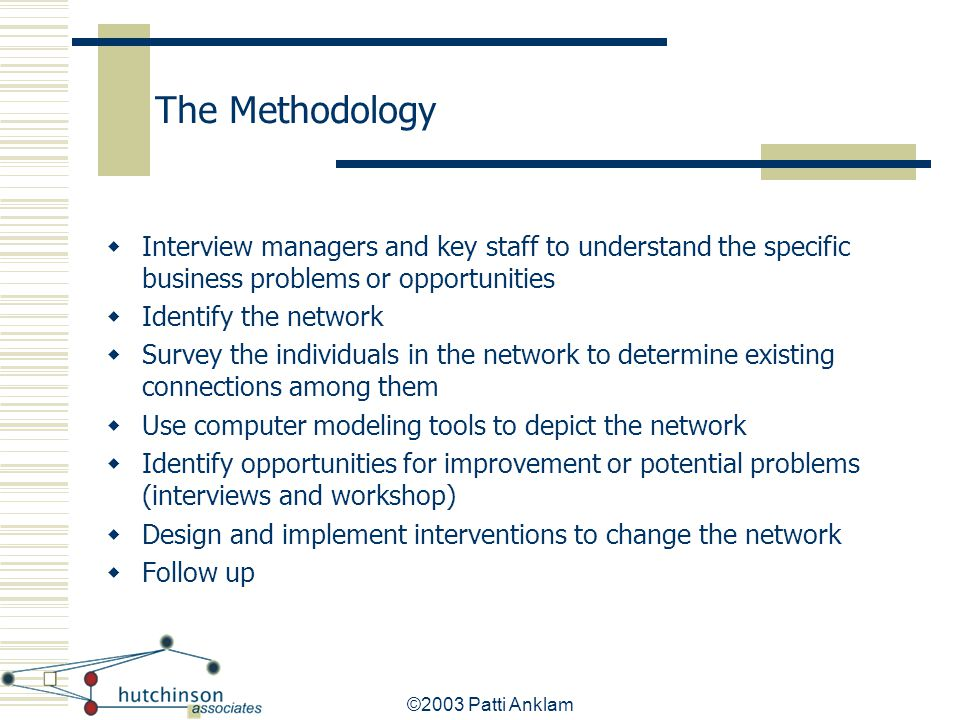 ©2003 Patti Anklam The Methodology  Interview managers and key staff to understand the specific business problems or opportunities  Identify the net