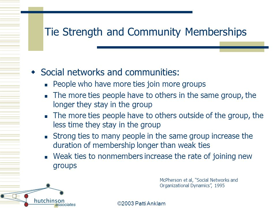 ©2003 Patti Anklam Tie Strength and Community Memberships  Social networks and communities: People who have more ties join more groups The more ties