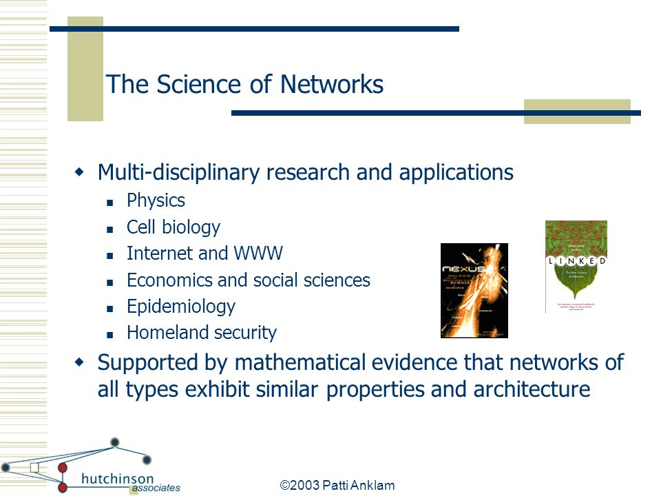 ©2003 Patti Anklam The Science of Networks  Multi-disciplinary research and applications Physics Cell biology Internet and WWW Economics and social s