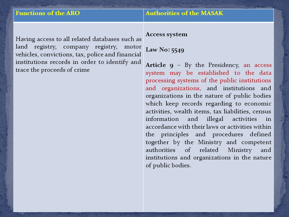 Functions of the AROAuthorities of the MASAK Having access to all related databases such as land registry, company registry, motor vehicles, convictions, tax, police and financial institutions records in order to identify and trace the proceeds of crime Access system Law No: 5549 Article 9 – By the Presidency, an access system may be established to the data processing systems of the public institutions and organizations, and institutions and organizations in the nature of public bodies which keep records regarding to economic activities, wealth items, tax liabilities, census information and illegal activities in accordance with their laws or activities within the principles and procedures defined together by the Ministry and competent authorities of related Ministry and institutions and organizations in the nature of public bodies.