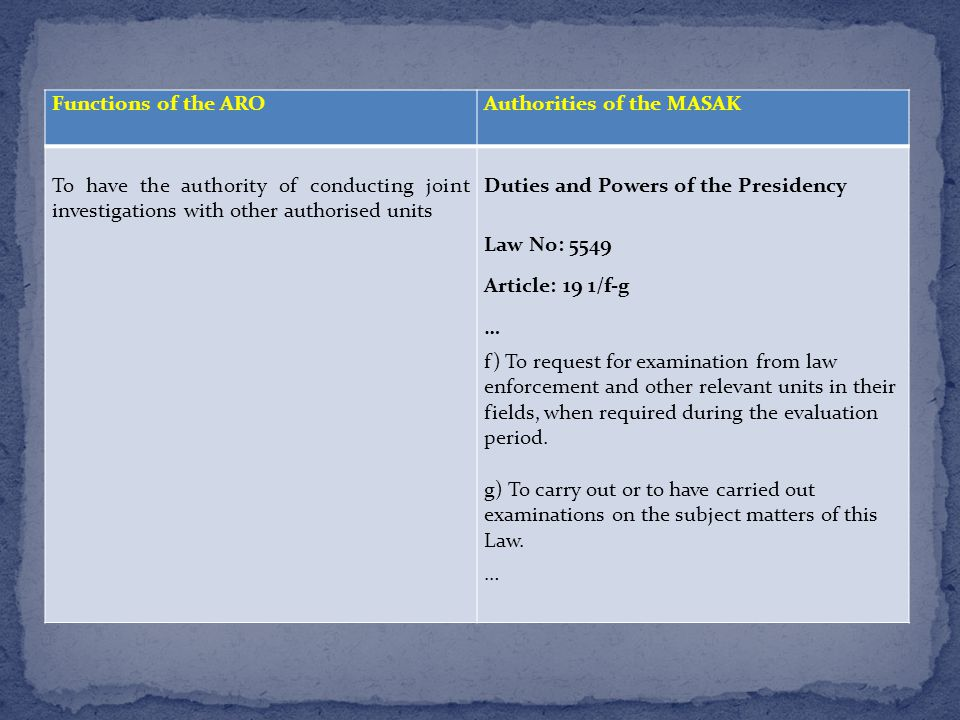 Functions of the AROAuthorities of the MASAK To have the authority of conducting joint investigations with other authorised units Duties and Powers of the Presidency Law No: 5549 Article: 19 1/f-g … f) To request for examination from law enforcement and other relevant units in their fields, when required during the evaluation period.