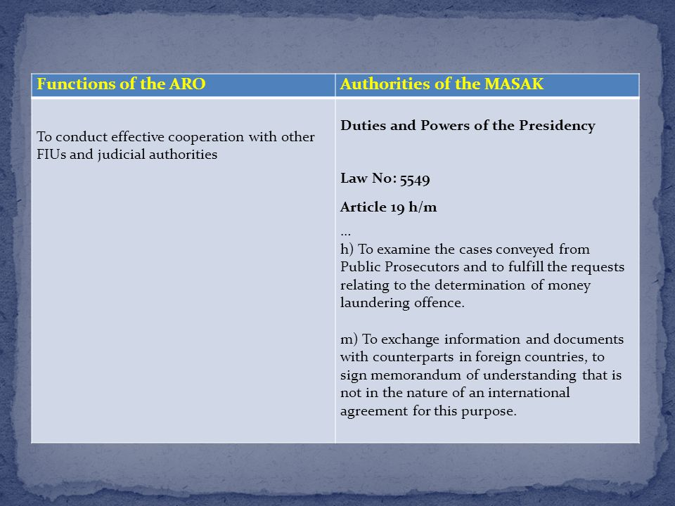 Functions of the AROAuthorities of the MASAK To conduct effective cooperation with other FIUs and judicial authorities Duties and Powers of the Presidency Law No: 5549 Article 19 h/m … h) To examine the cases conveyed from Public Prosecutors and to fulfill the requests relating to the determination of money laundering offence.