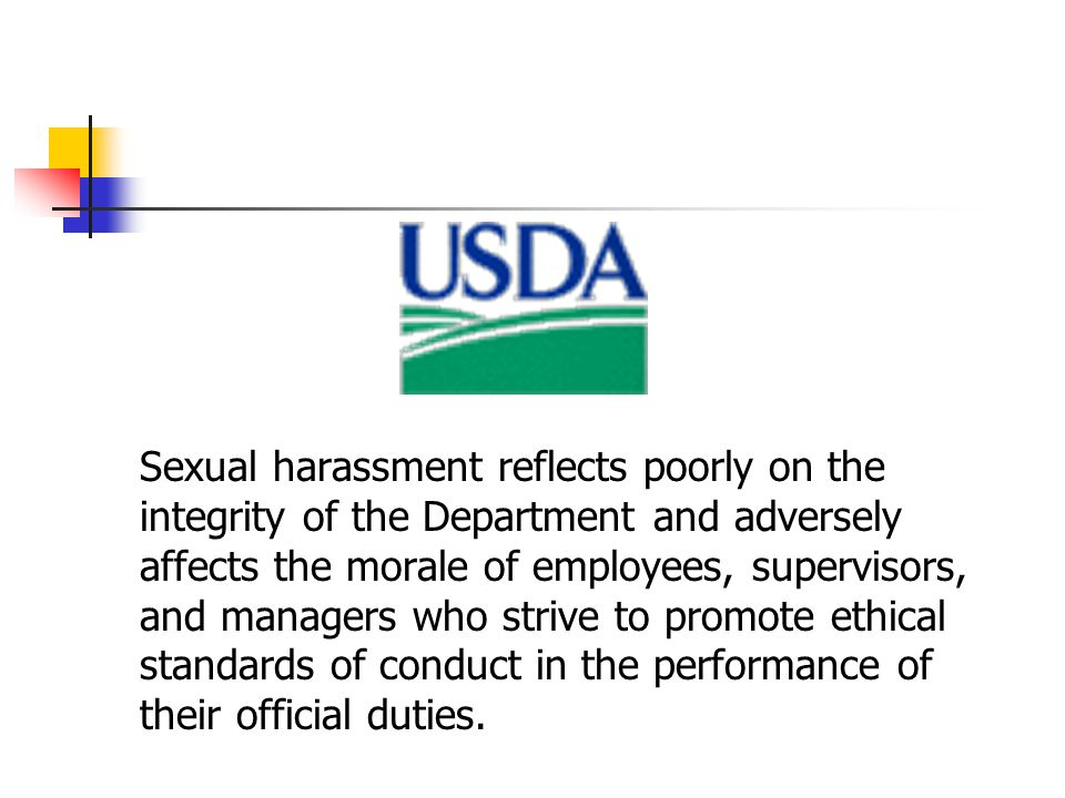 Sexual harassment reflects poorly on the integrity of the Department and adversely affects the morale of employees, supervisors, and managers who strive to promote ethical standards of conduct in the performance of their official duties.