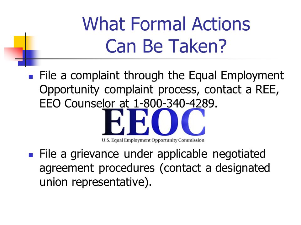 What Formal Actions Can Be Taken.