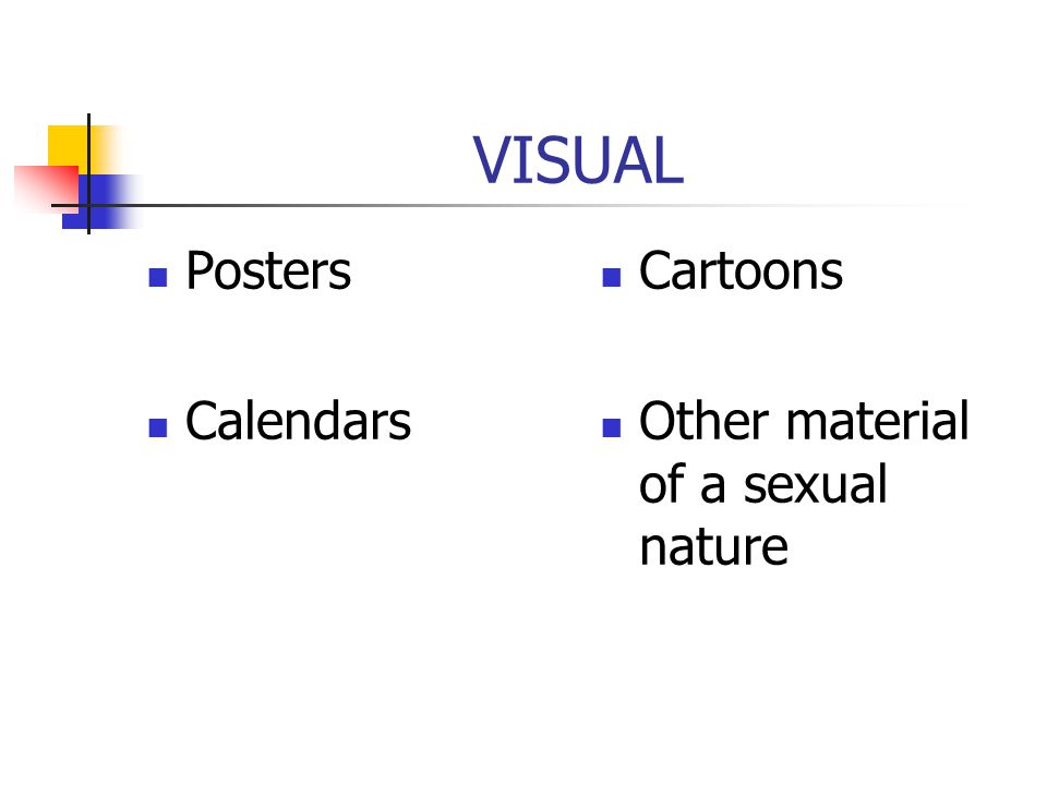 VISUAL Posters Calendars Cartoons Other material of a sexual nature