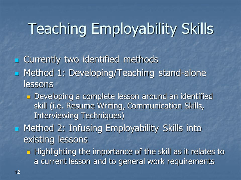 12 Teaching Employability Skills Currently two identified methods Currently two identified methods Method 1: Developing/Teaching stand-alone lessons M