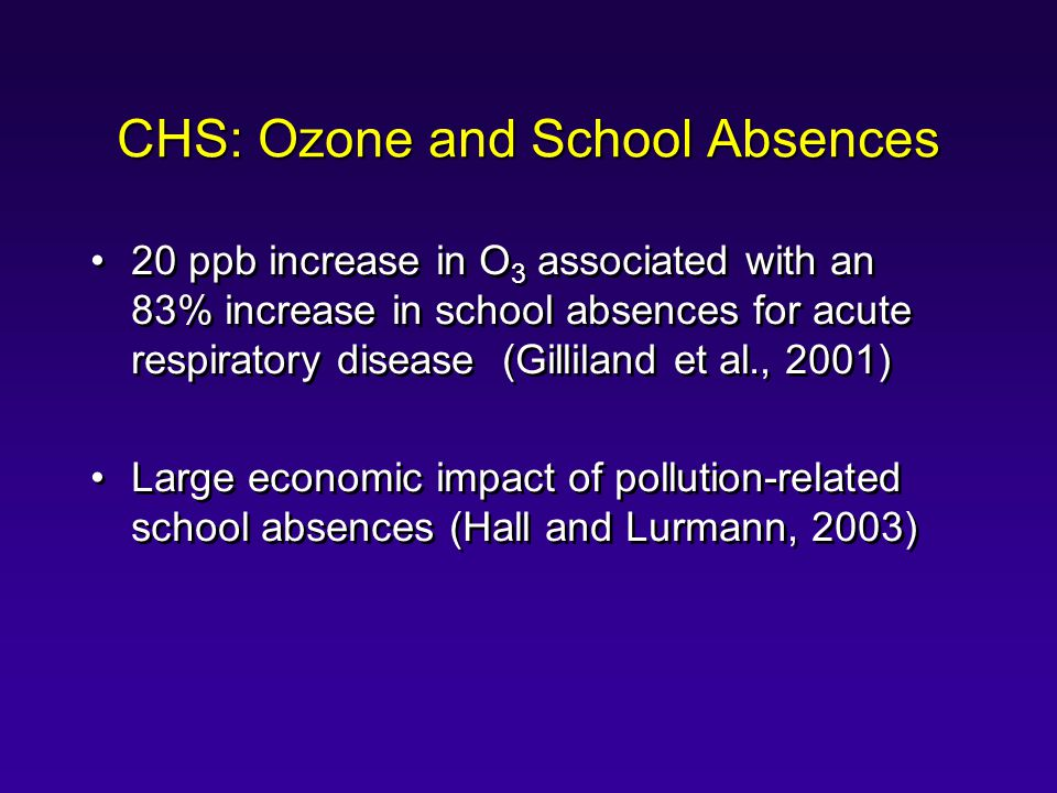 CHS: Ozone and School Absences 20 ppb increase in O 3 associated with an 83% increase in school absences for acute respiratory disease (Gilliland et al., 2001) Large economic impact of pollution-related school absences (Hall and Lurmann, 2003) 20 ppb increase in O 3 associated with an 83% increase in school absences for acute respiratory disease (Gilliland et al., 2001) Large economic impact of pollution-related school absences (Hall and Lurmann, 2003)