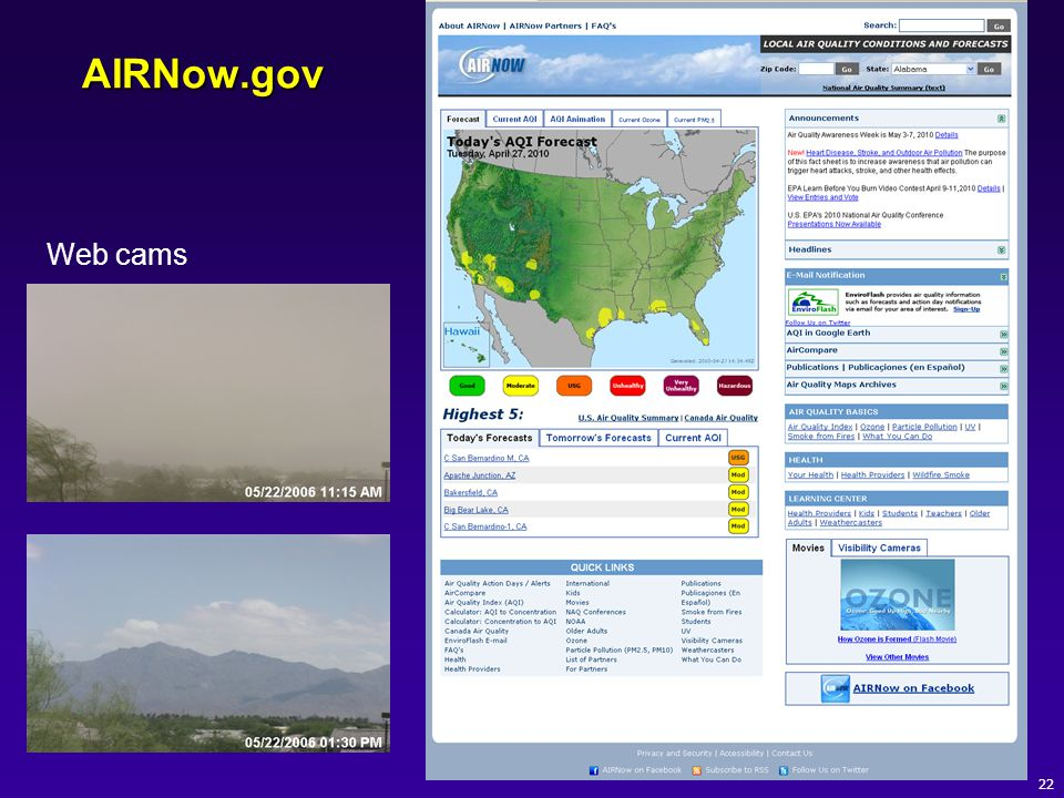 AIRNow.gov 22 Web cams