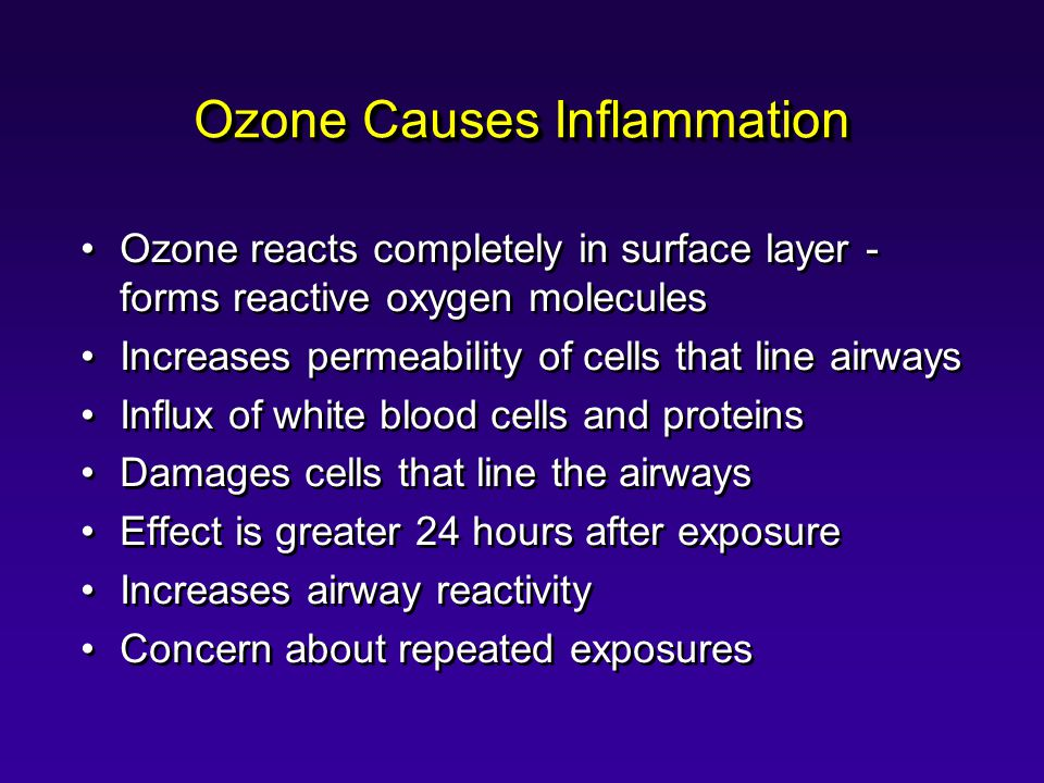 Ozone Causes Inflammation Ozone reacts completely in surface layer - forms reactive oxygen molecules Increases permeability of cells that line airways Influx of white blood cells and proteins Damages cells that line the airways Effect is greater 24 hours after exposure Increases airway reactivity Concern about repeated exposures Ozone reacts completely in surface layer - forms reactive oxygen molecules Increases permeability of cells that line airways Influx of white blood cells and proteins Damages cells that line the airways Effect is greater 24 hours after exposure Increases airway reactivity Concern about repeated exposures