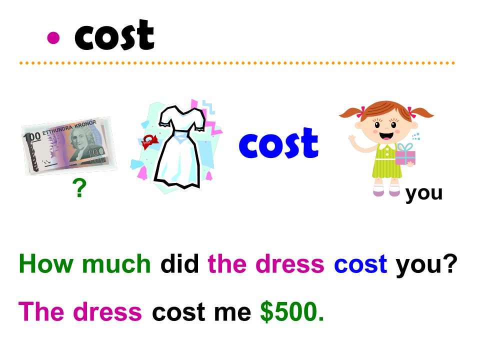 cost ? How much did the dress cost you? The dress cost me $500. you