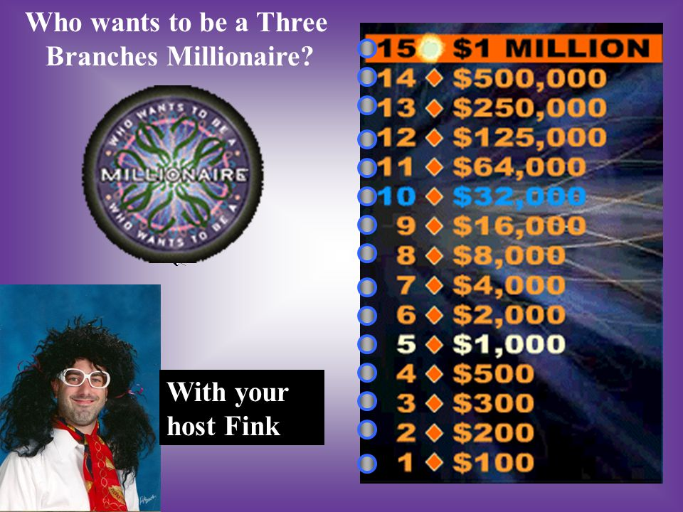 Who wants to be a Three Branches Millionaire? With your host Fink
