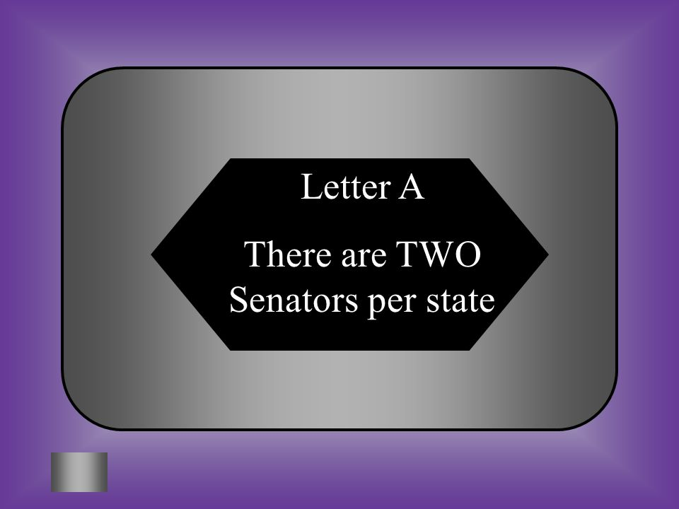 A:B: 26 How many senators are there per state C:D: Based on population4