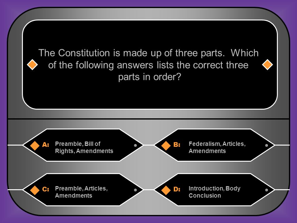 A:B: Preamble, Bill of Rights, Amendments Federalism, Articles, Amendments The Constitution is made up of three parts.