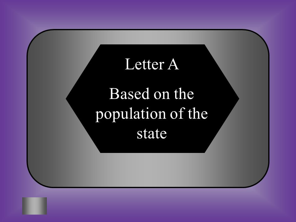 A:B: based on its population. 2 per state. The number of Representatives each state has is...