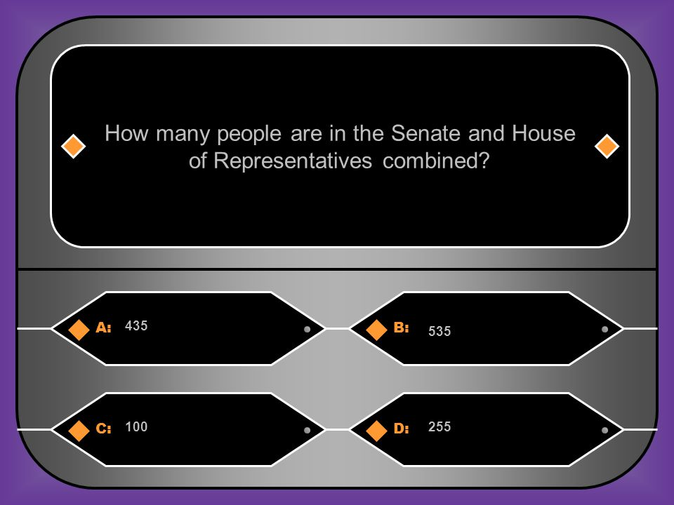A:B: 435 535 How many people are in the Senate and House of Representatives combined? C:D: 100255
