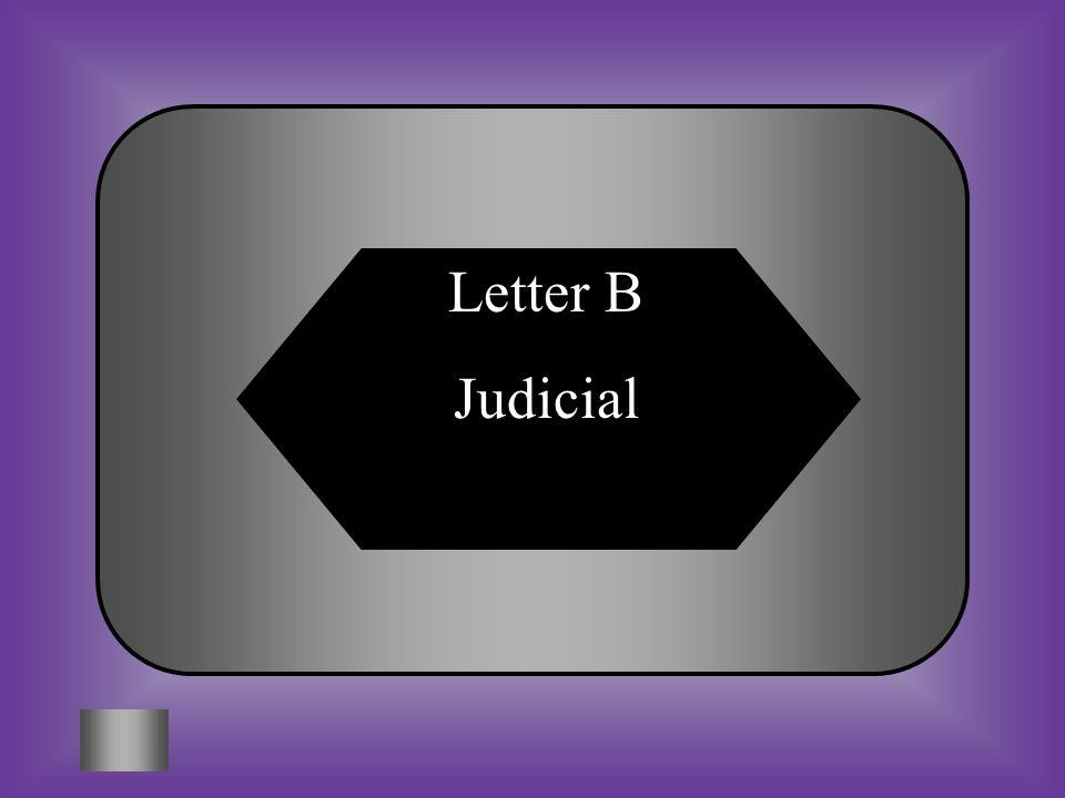 A:B: ExecutiveJudicial Which branch interprets laws? C:D: LegislativeFederalism