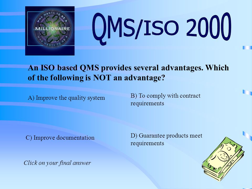 QMS stands for: C) Quality Management System