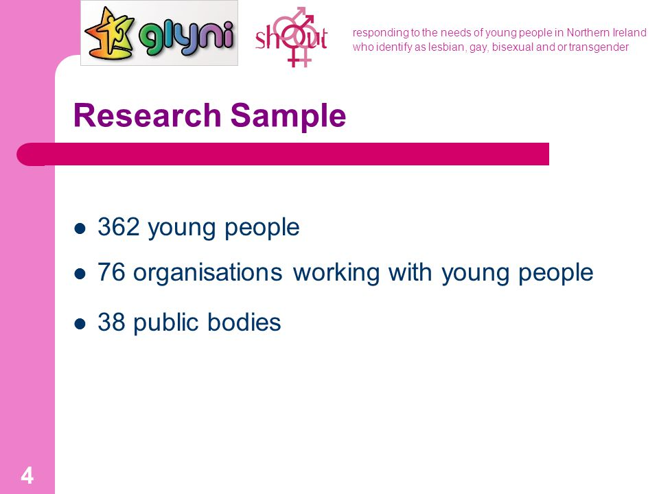 responding to the needs of young people in Northern Ireland who identify as lesbian, gay, bisexual and or transgender 4 Research Sample 362 young peop