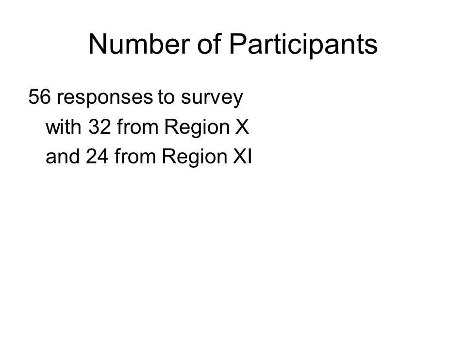 Number of Participants 56 responses to survey with 32 from Region X and 24 from Region XI