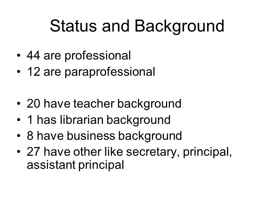 Status and Background 44 are professional 12 are paraprofessional 20 have teacher background 1 has librarian background 8 have business background 27