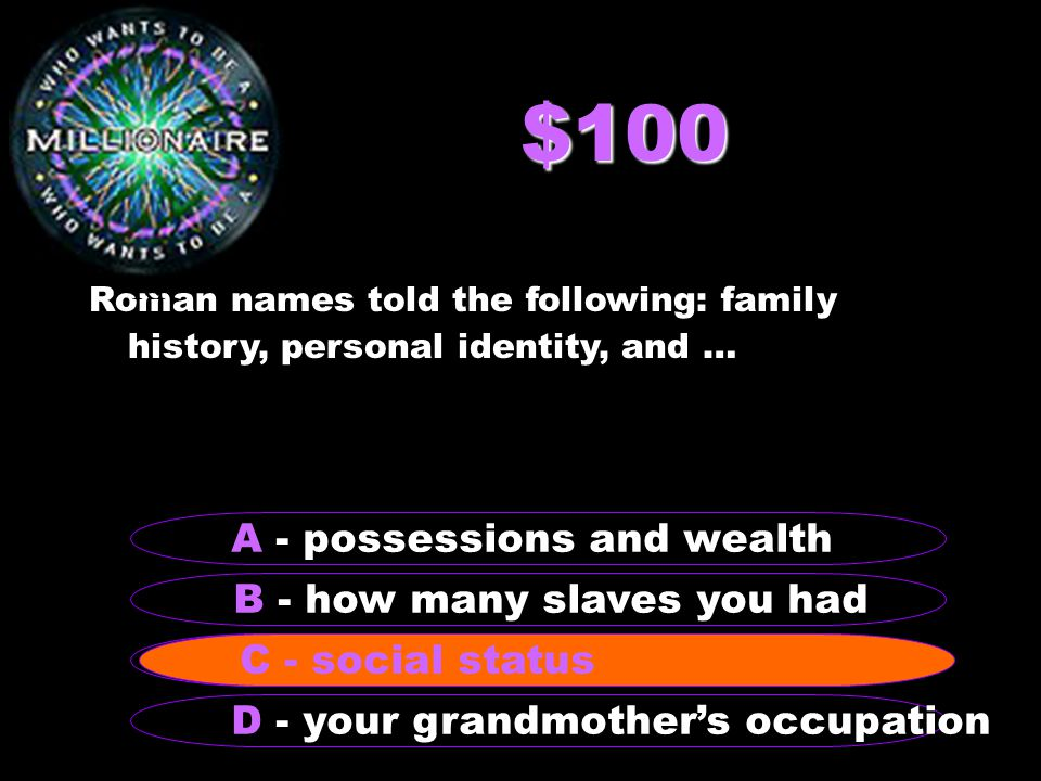 $100 Roman names told the following: family history, personal identity, and … B - how many slaves you had A - possessions and wealth C - social status D - your grandmother's occupation C - social status RR