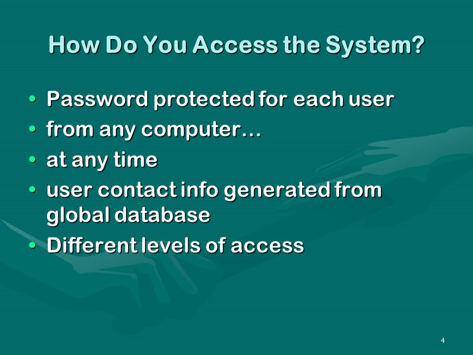 4 How Do You Access the System.