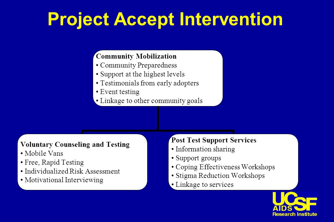 Project Accept Intervention Community Mobilization Community Preparedness Support at the highest levels Testimonials from early adopters Event testing Linkage to other community goals Voluntary Counseling and Testing Mobile Vans Free, Rapid Testing Individualized Risk Assessment Motivational Interviewing Post Test Support Services Information sharing Support groups Coping Effectiveness Workshops Stigma Reduction Workshops Linkage to services