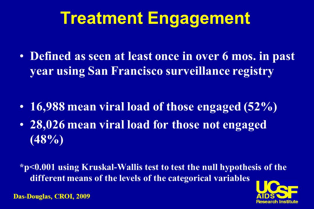 Treatment Engagement Defined as seen at least once in over 6 mos.