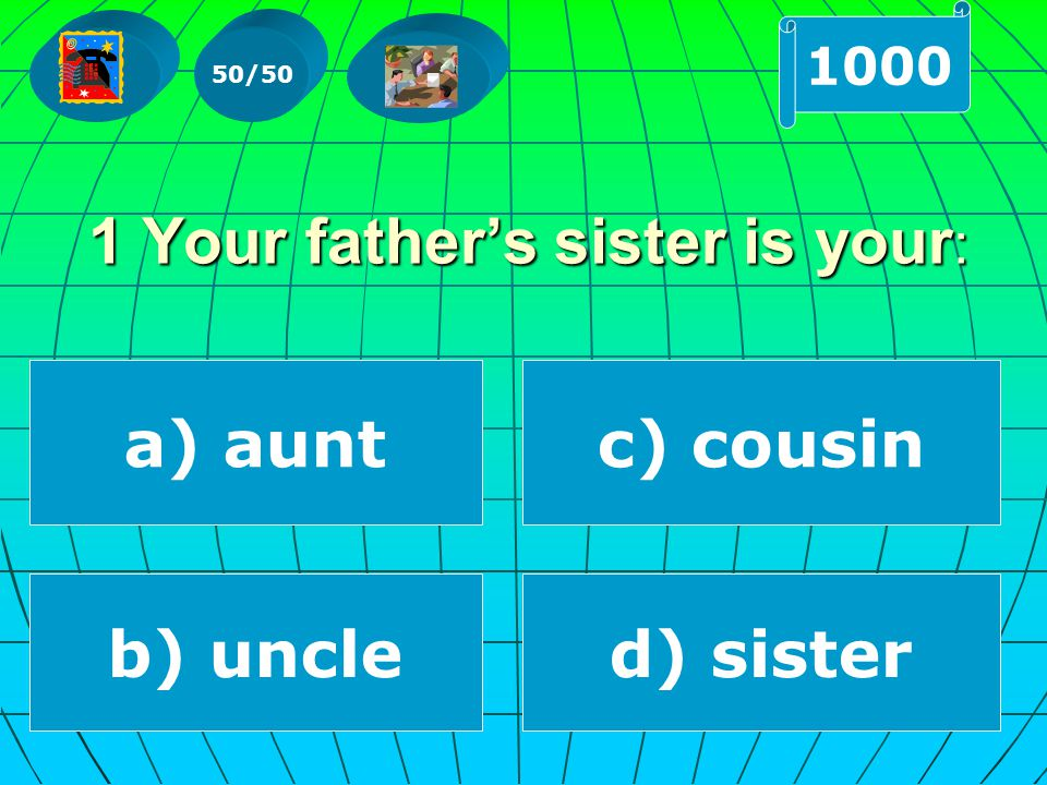 a) aunt 1 Your father's sister is your : c) cousin b) uncled) sister 50/50 1000