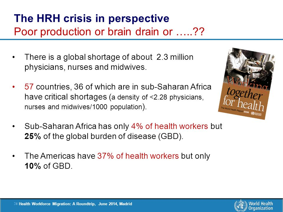 4 |4 | Health Workforce Migration: A Roundtrip, June 2014, Madrid Health workers health outcomes Countries with a critical shortage of HRH ( < 2.28 physicians, nurses and midwives / 1000 population ) The HRH crisis countries are making slow progress towards the health-related MDGs ( e.g.